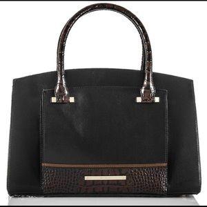 Brahmin black Greta Tuscan tri texture satchel bag